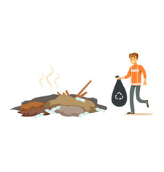 street cleaner man in a orange uniform holding vector image vector image