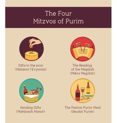 Symbols of jewish holiday purim infographics vector