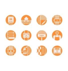 Warm floor models round orange icons set vector image