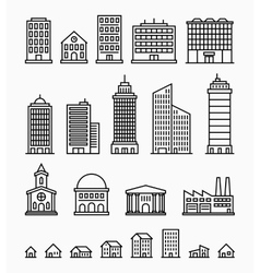 Line building icons set of outline buildings vector