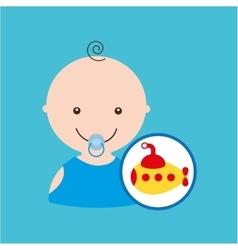 Submarine cute toy baby design vector