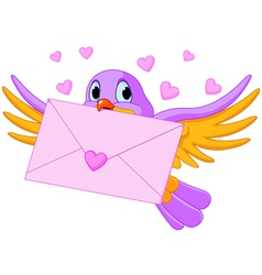 Bird with love letter vector image