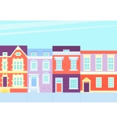 Old town street with vintage houses vector