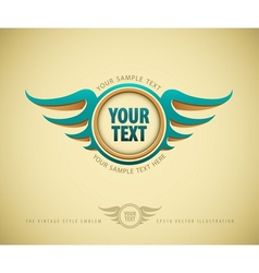 Vintage label with wing vector