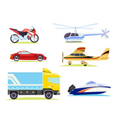 Means of transportation collection of pictures vector