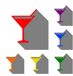 cocktail sign set of red orange vector image