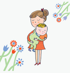 Greeting card with mom and baby vector