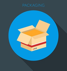 Packaging concept open cardboard box in fla vector