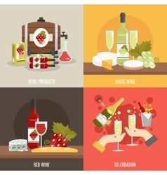 Wine flat set vector