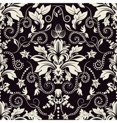 Vintage seamless damask pattern dark background vector