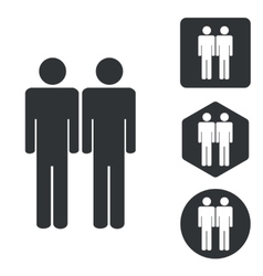 Two men icon set monochrome vector