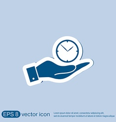 Hand holding a clock icon watch symbol time vector