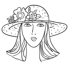 Hand-drawn fashion model womans face a hat vector