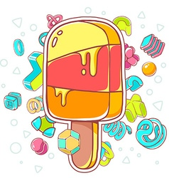 Colorful of orange ice cream on white backgr vector