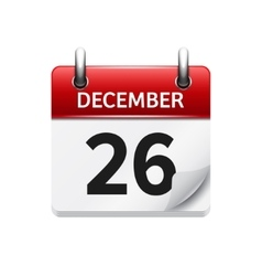 December 26 flat daily calendar icon vector