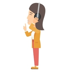 Woman listening music in headphones vector
