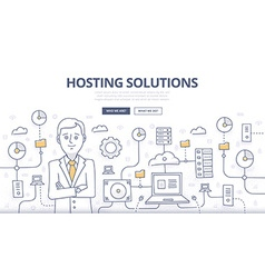 Hosting solutions doodle concept vector