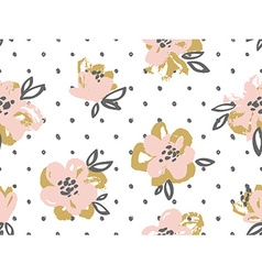 Seamless pattern with pink and gold flowers on the vector