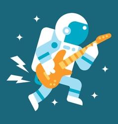 Flat design astronaut playing guitar vector