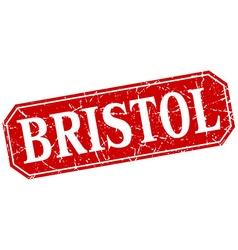 Bristol red square grunge retro style sign vector