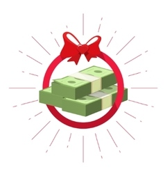 Money prize offer win  pile of cash bundle vector