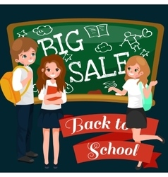 Back to School summer sale background Boy and vector image vector image