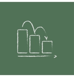 Bar chart down icon drawn in chalk vector