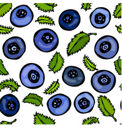 blueberry and leaves seamless doodle style vector image vector image