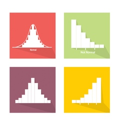Collection of 4 Normal and Not Normal Distribution vector image