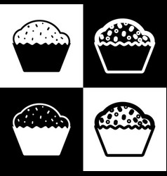 Cupcake sign black and white icons and vector