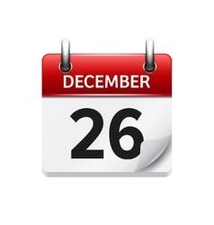 December 26 flat daily calendar icon vector