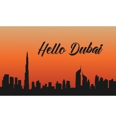 Dubai city at sunset of silhouette vector