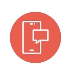 Empty speech bubble in smartphone thin line icon vector image