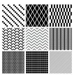 Geometric Monochrome Seamless Background Patterns vector image