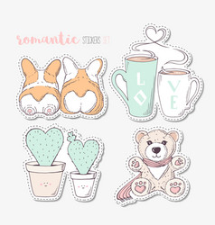 hand drawn steackers with dogs cactuses cups and vector image