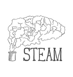 hand drawn steam on white background vector image