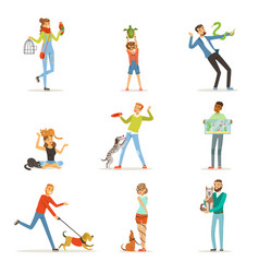happy people having fun with pets man women and vector image