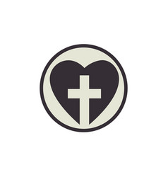 heart with christian cross icon vector image vector image