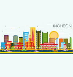 incheon skyline with color buildings and blue sky vector image vector image