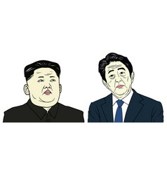 kim jong-un and shinzo abe portrait flat design vector image