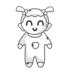 line cute baby girl with hairstyle and clothes vector image vector image