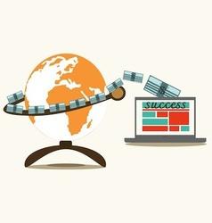 Make money globe and computer vector