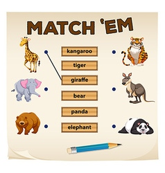Matching game with wild animals vector