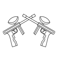 Paintball guns icon outline style vector