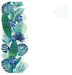 palm leaves seamless stripe retro vector image