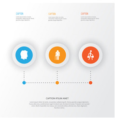 People icons set collection of grandpa male vector