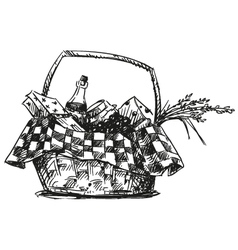 Picnic basket with snack vector