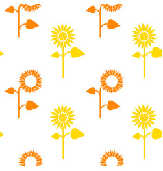 Seamless pattern of sunflowers on white vector