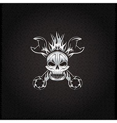 silver crest with skullflame and spanners vector image