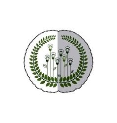 Sticker ornament of light bulb in shape flower vector
